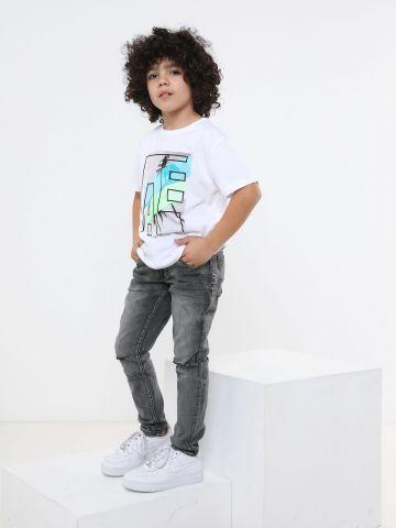 ג'ינס סקיני ווש עם קרעים