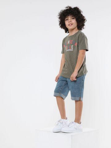 ג'ינס ברמודה עם קיפול בסיומת