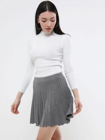 חצאית פליסה מיני סרוגה