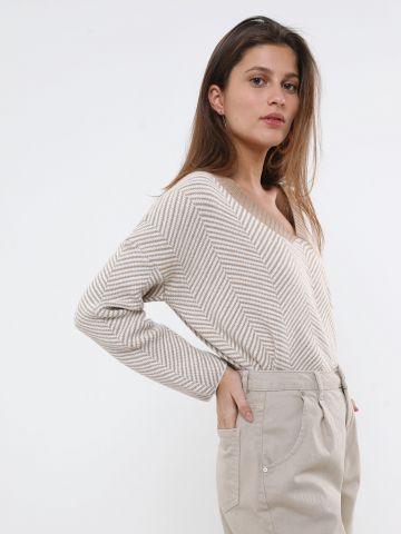 סוודר קרופ בדוגמת זיגזג