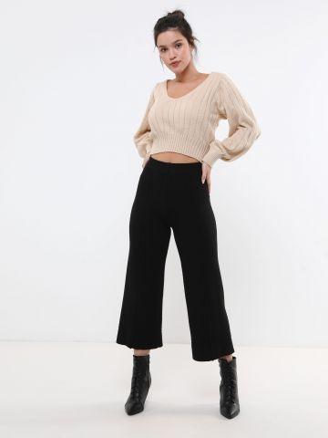 מכנסיים סרוגים בגזרה מתרחבת