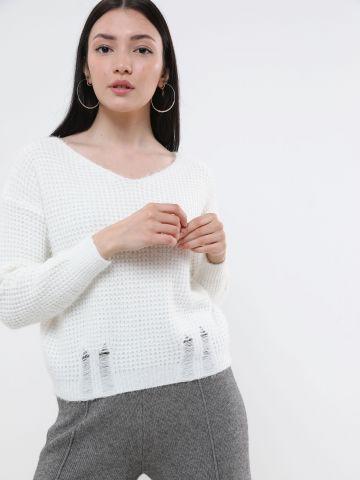 סוודר בטקסטורת ריבועים