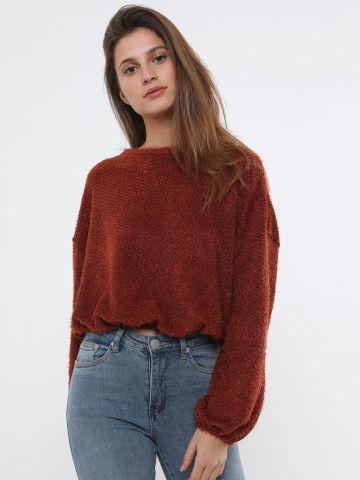 סוודר פלאפי עם גומי בסיומת