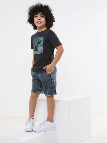 מכנסי טרנינג ברמודה דמוי ג'ינס