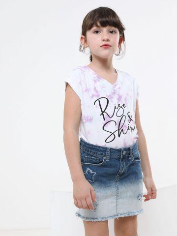 חצאית ג'ינס מיני בהדפס אומברה
