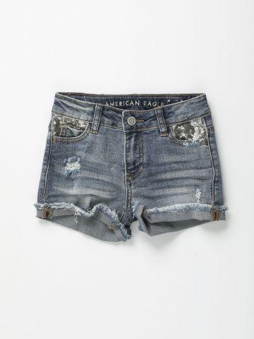 מכנסי ג'ינס קצרים בשילוב פייטים כסופים / בנות