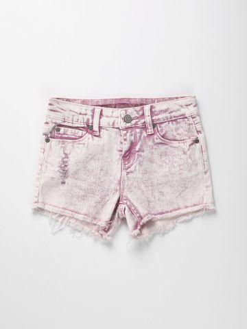 מכנסי ג'ינס אסיד ווש קצרים / בנות
