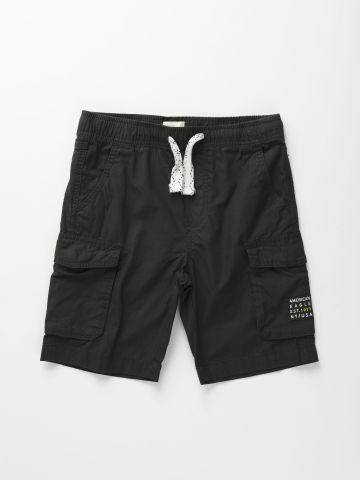 מכנסי ברמודה קצרים עם לוגו / בנים