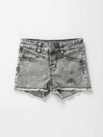 מכנסי ג'ינס קצרים אסיד ווש / בנות