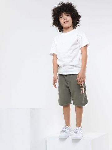 מכנסי טרנינג ברמודה עם רקמת לוגו