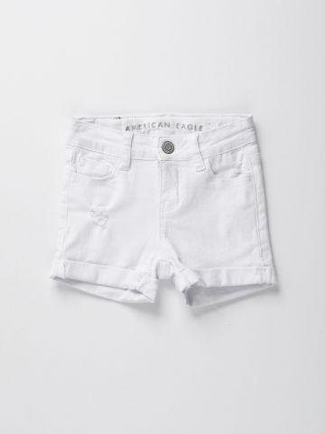 מכנסי ג'ינס קצרים עם קיפול בסיומת / בנות