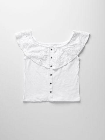 חולצת אוף שולדרס עם רקמת פרחים / בנות