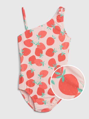 בגד ים שלם בהדפס תותים / בנות