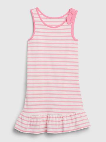 שמלה בהדפס לבבות פסים/ בייבי בנות