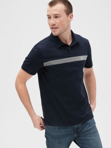 חולצת פולו עם דוגמת פס ולוגו