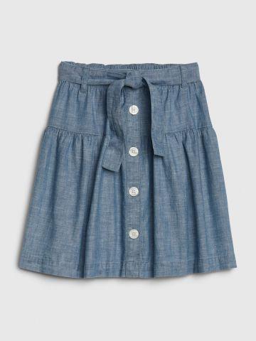 חצאית עם כפתורים וחגורה/ בנות