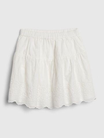 חצאית עם רקמת פרחים/ בייבי בנות