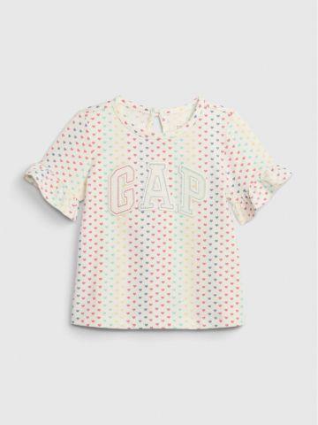 חולצה בהדפס לבבות עם לוגו / 6-24M