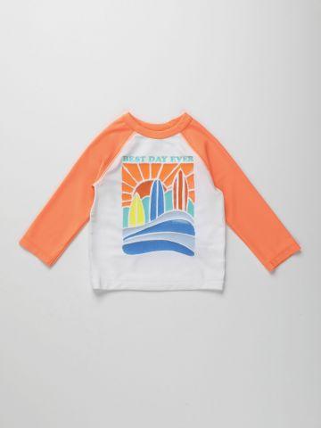 חולצת בגד ים עם הדפס ים / 12M-5Y