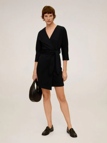 שמלת מעטפת עם חגורת קשירה