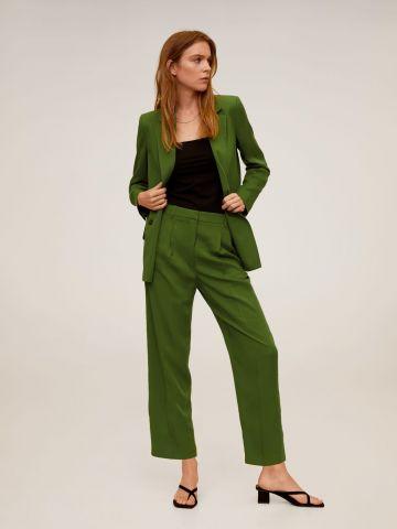 מכנסי קרופ מחויטים עם קפלים