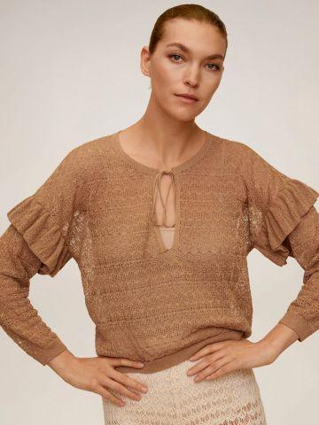 חולצה סרוגה בטקסטורה עם מלמלה בשרוולים של MANGO