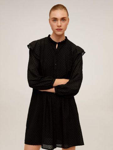 שמלת מיני מכופתרת עם רקמת נקודות ומלמלה