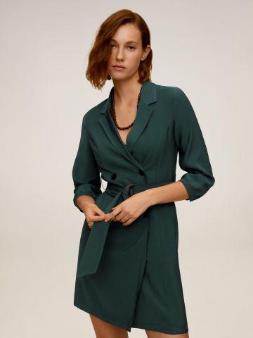 שמלת מיני מעטפת עם חגורה