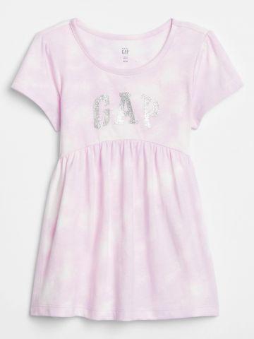שמלת טאי דאי עם לוגו גליטר / בייבי בנות
