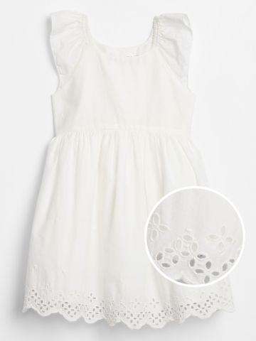 שמלה עם רקמת פרחים / בייבי בנות