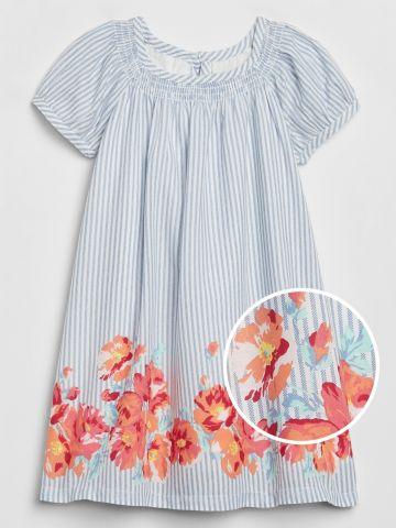 שמלה בהדפס פסים ופרחים / 12M-5Y