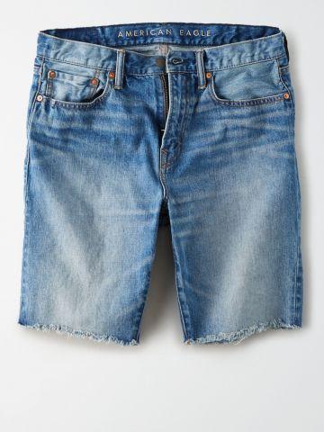 ג'ינס ווש קצר עם פרנזים / גברים