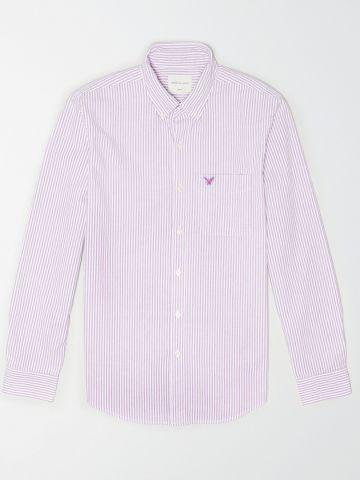 חולצת פסים מכופתרת עם לוגו / גברים