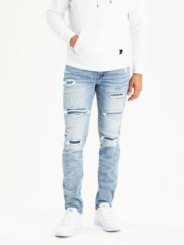 ג'ינס סלים עם קרעים Airflex Slim
