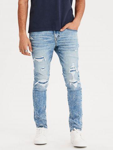 ג'ינס סלים אסיד ווש עם קרעים Airflex Slim