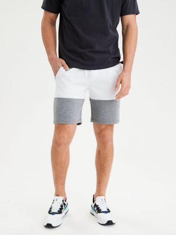 מכנסי טרנינג קצרים קולור בלוק