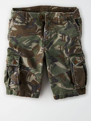 מכנסי ברמודה קמופלאז' עם כיסים / גברים