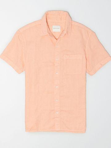 חולצת פשתן מכופתרת עם שרוולים קצרים / גברים של AMERICAN EAGLE
