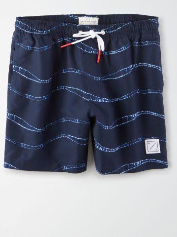 מכנסי בגד ים בהדפס אבסטרקטי / גברים