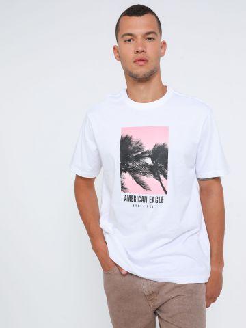 טי שירט עם הדפס לוגו בוקס של AMERICAN EAGLE