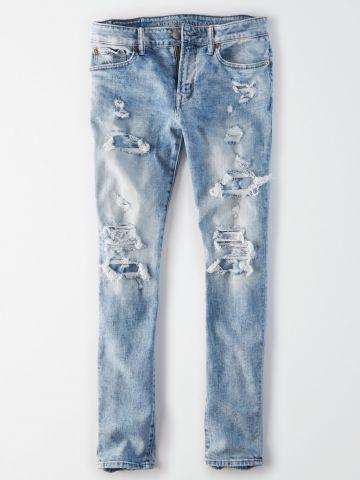 ג'ינס סקיני ארוך אסיד עם קרעים / גברים של AMERICAN EAGLE