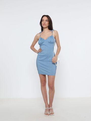 שמלת מיני עם כתפיות קשירה