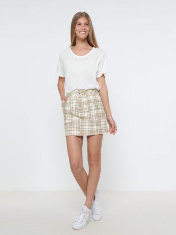 חצאית ג'ינס מיני בהדפס משבצות