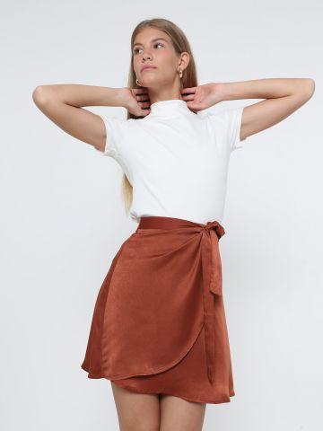חצאית מיני סאטן מעטפת