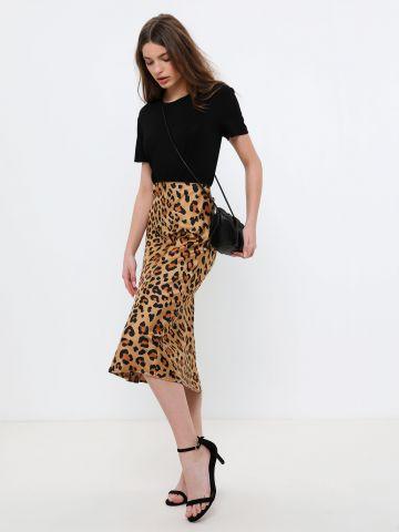 חצאית מידי סאטן בהדפס חברבורות