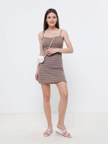 שמלת מיני וופל פסים