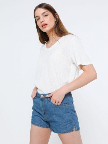 ג'ינס קצר עם רקמת להבות