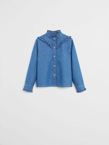 חולצת ג'ינס עם מלמלה / 9M-4Y