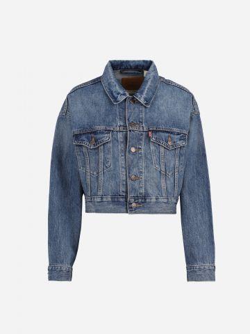 ג'קט ג'ינס קרופ עם כיסים / נשים