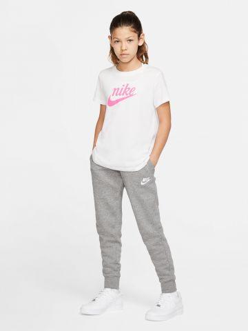 מכנסי טרנינג מלאנז' עם רקמת לוגו